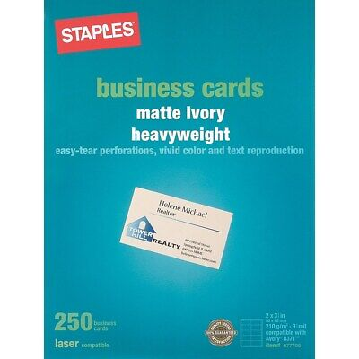 Staples Business Cards - Staples Laser Business Cards Ivory 250/Pk 677798