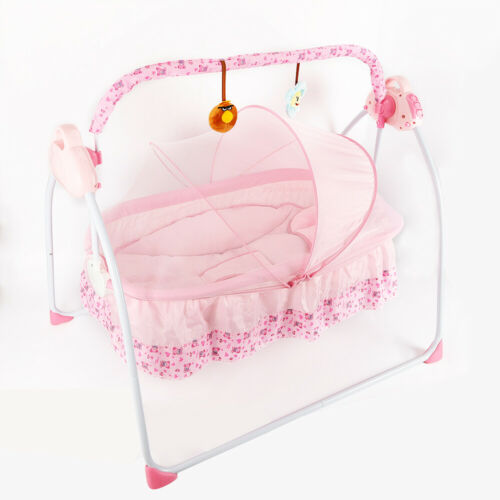 Electric Baby Cradle Swing Crib Cot Rocking Bassinet w/ MP3