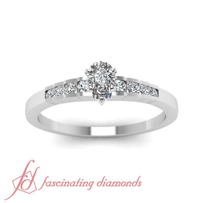 1/2 Carat Channel Set Womens Diamond Engagement Ring With Pear Shaped Center GIA 1