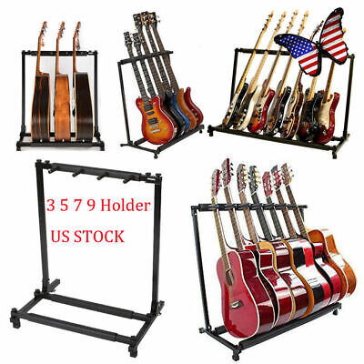 Multi Guitar Stand 3/5/7/9 Holder Folding Organizer Rack Stage Bass Acoustic DJ