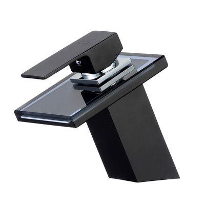 Cristal Cascada Grifería Lavabo Negro Baño Grifo Agua