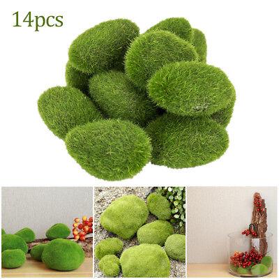 14Pcs Artificial Fake Moss Stone Rock Ball Realistic Garden Decor Fuzzy Green - Fuzzy Balls