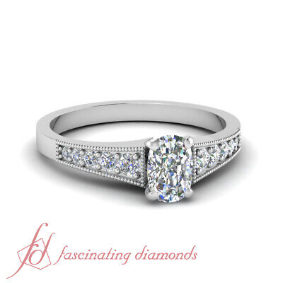 0.65 Carat Cushion Cut Graduated Diamond Engagement Rings For Her GIA Certified