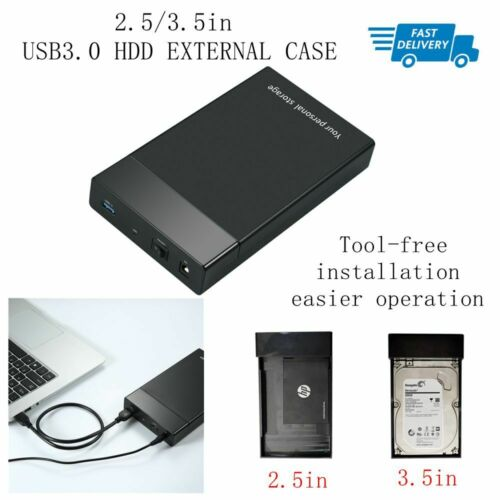 2.5/3.5in SATA HDD Hard Drive Disk Case Enclosure USB 3.0 High Speed External