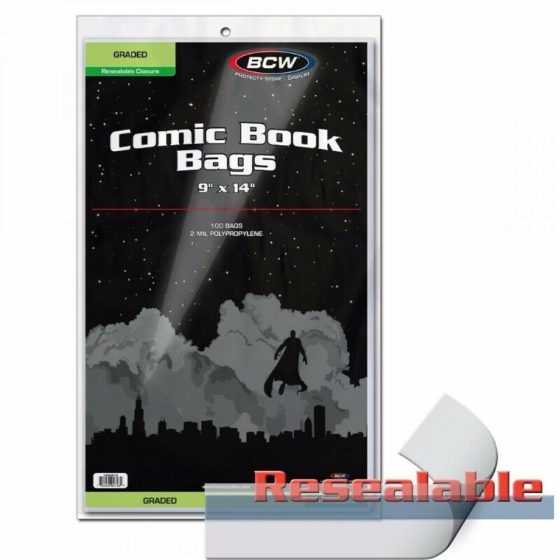 New BCW Graded Comic Book Resealable Bags 9x14 100 Acid Free Bags For CGC CBCS