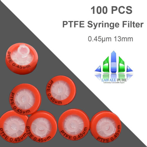 100pcs PTFE Syringe Filter 13mm Diameter 0.45μm Pore Size with PP Prefilter Lab