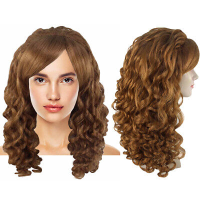 Rockabilly Long Curly Brown Wavy Wig Country Girl Vintage Party Costume - Rockabilly Wig