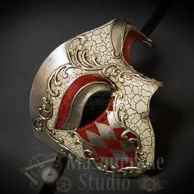 Mens Diamond Pattern Phantom of the Opera Venetian Masquerade Ball Mask [Red]