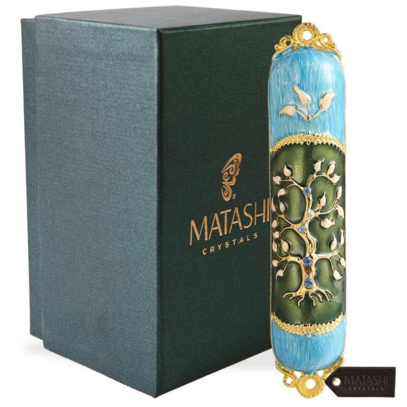 Hand Painted Enamel Mezuzah Embellished w/ a Tree of Life Design by Matashi