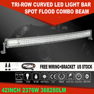 """Curved 42"""" inch 2376W LED Light Bar Combo Driving Lamp For Ford Dodge 40"""" 44"""" 7D"""