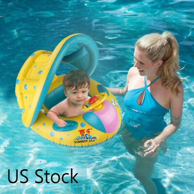 Inflatable Sunshade Swimming Pool Ring Float Boat Seat Baby Kids Toddler Raft 4S