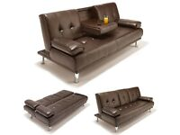 **BRAND NEW**CUP HOLDER SOFA BED, 3 SEATER SLEEPER LEATHER SETTEE - EXPRESS DELIVERY SOFABED