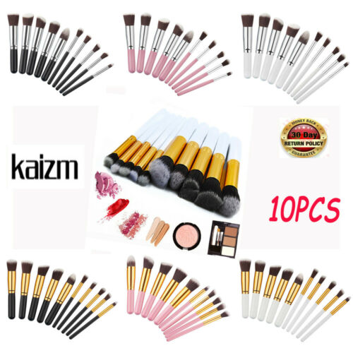 10Pcs Makeup Brushes Set Face Powder Contour Tool Black Whit