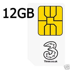 Three 3 UK Nano/Micro/Standard 4G PAYG Data Sim Card with Preloaded 12 GB Data