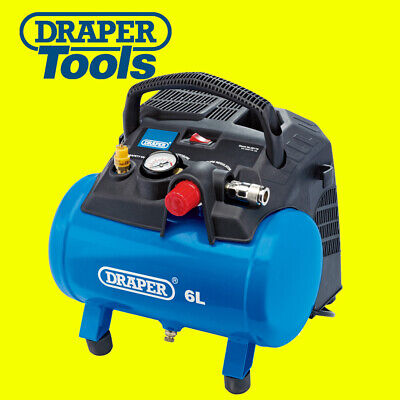 DRAPER 6 Litre Oil Free Small Compact Portable Air Line Compressor 1.5HP 02115