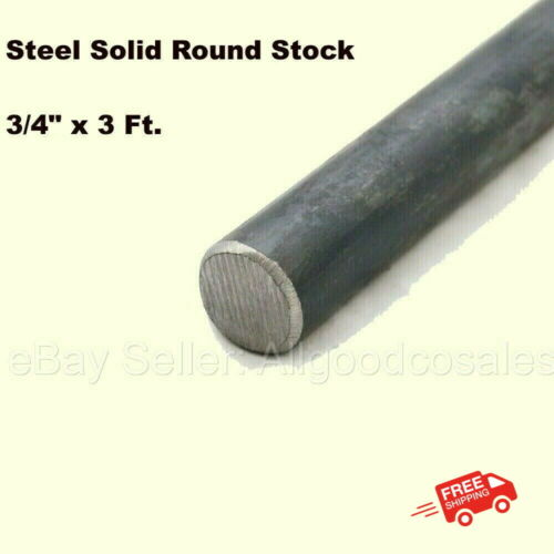 """Steel Solid Round Stock 3/4"""" x 3 Ft Unpolished Cold Finish Rod Alloy 1018"""