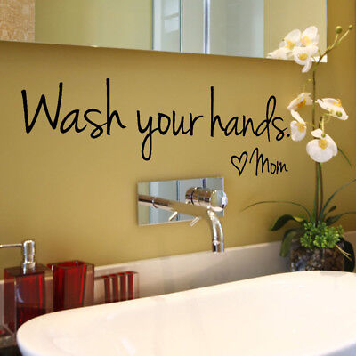Wash Your Hands Mom WC Toilet Home Decor Wall Sticker Decal Bedroom Vinyl Art