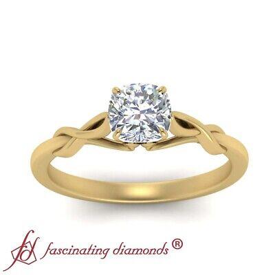 3/4 Carat Cushion Cut Diamond Infinity Twist Engagement Ring In 18K Yellow Gold 2