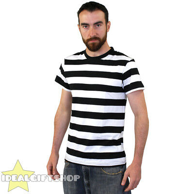 STRIPED T SHIRT TOP BLACK & WHITE FANCY DRESS SHORT SLEEVE 100% COTTON - Top 100 Fancy Dress Kostüm