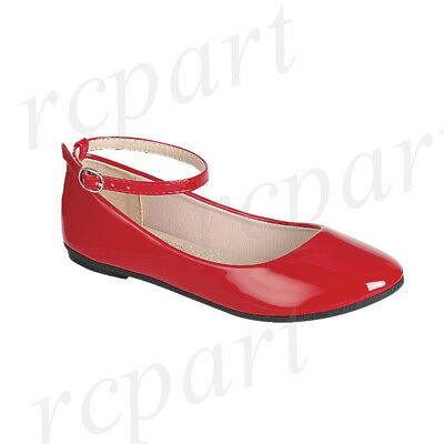 - New girl's kids back zipper Red synthetic patent flower girl dress shoes