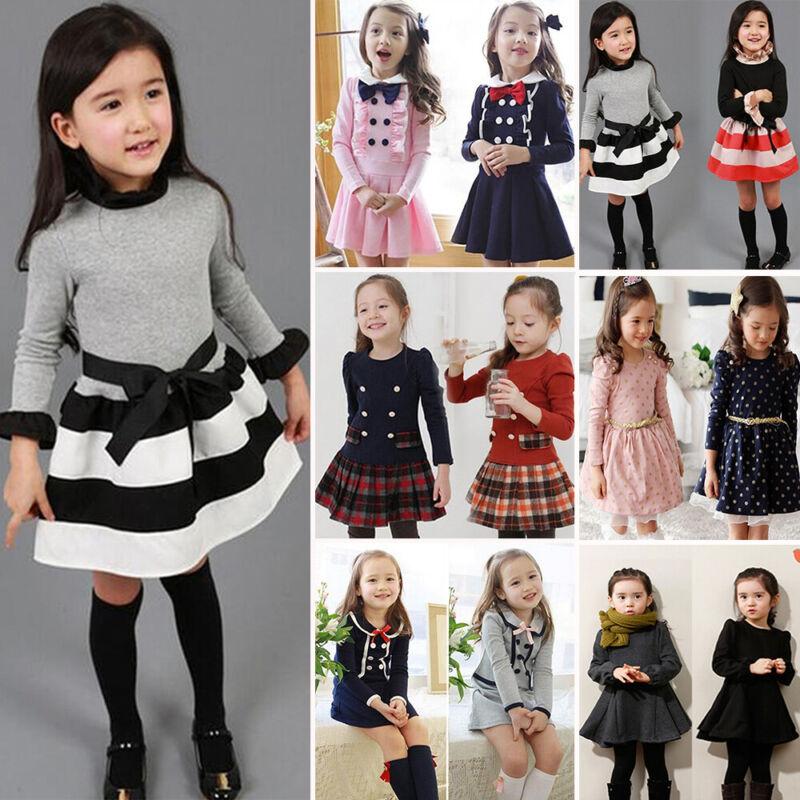 Mädchen Kinder Langarm Prinzessin Kleid Tunika Hochzeit Partykleid Festkleid