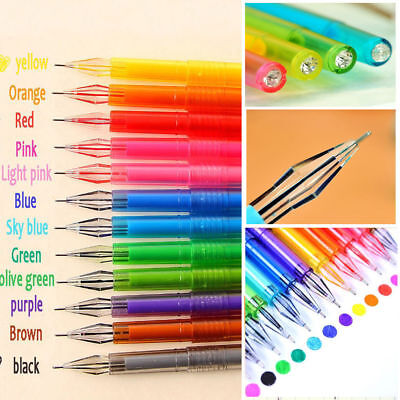12Pc set Diamond Gel Pen refill School Supplies Draw Colored Student Candy Color