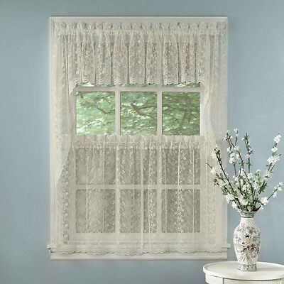 Elegant Ivory Priscilla Lace Kitchen Curtains – Tiers, Tailored Valance or Swag Curtains & Drapes