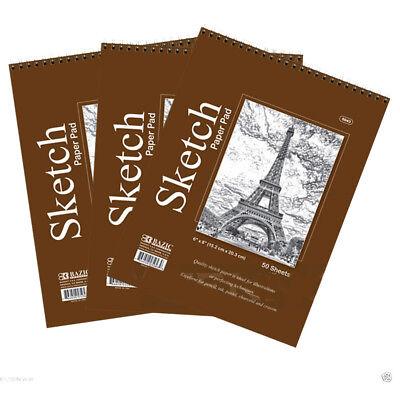 Lot of 3 Sketch Book Paper Pad 50 Sheet 6