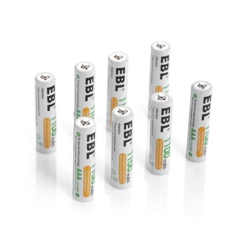EBL 8 Pack 1500 Cycle 1100mAh AAA Ni-MH Rechargeable Batteries (Typical...