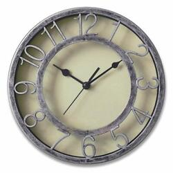 Round Silent Wall Clock Non-Ticking 8 inch Large Numbers Silver Holiday Gift