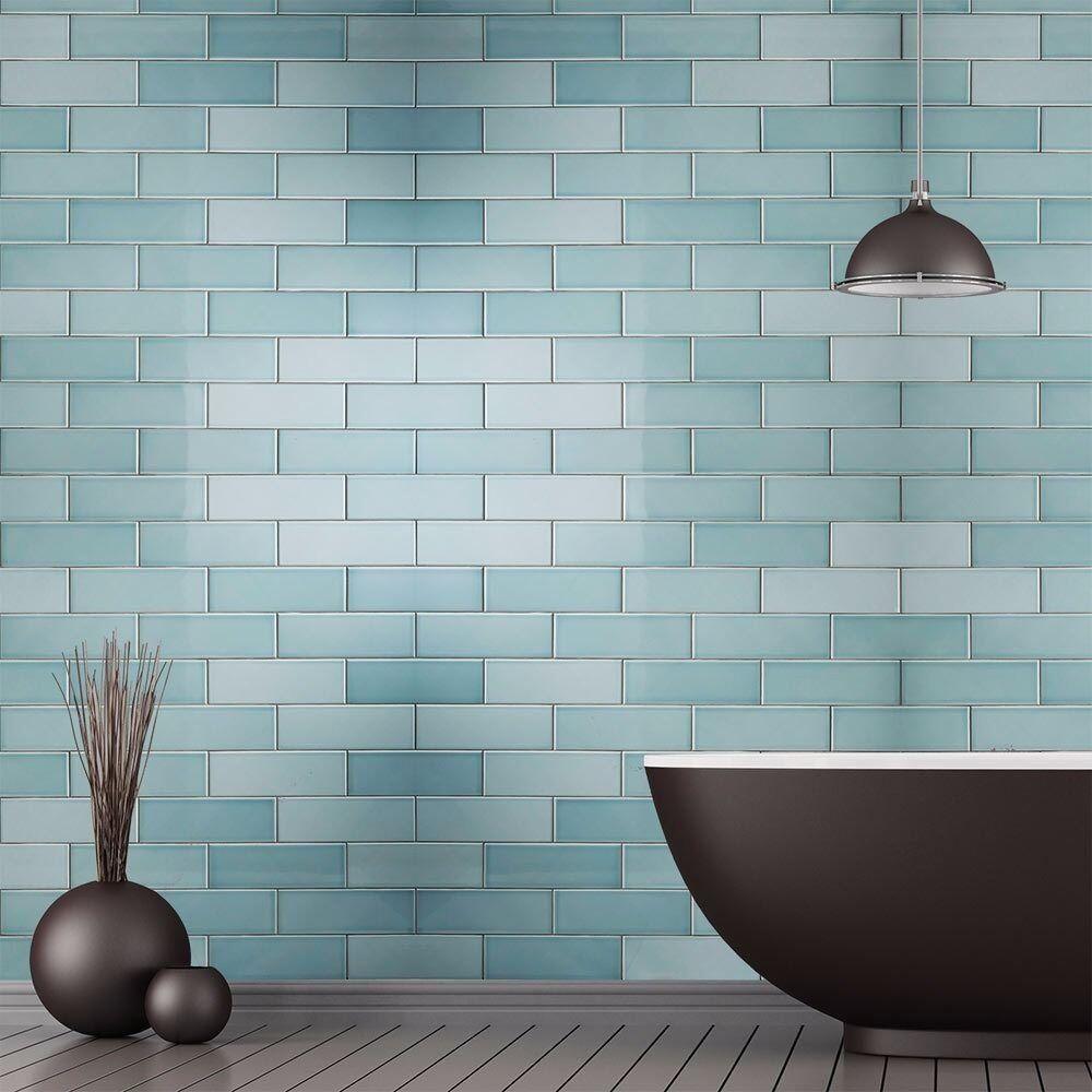 7mtr SAV08A Savoy Leaf Gloss Wall Tile 100x300 + Adhesive + Trim ...