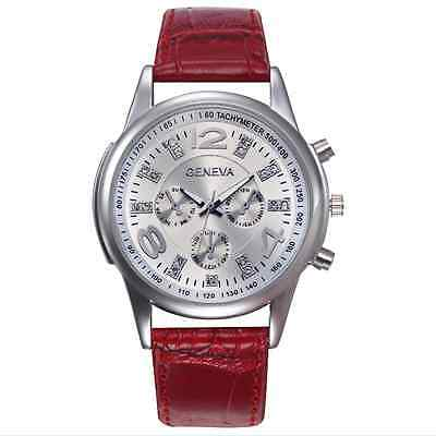 Fashion Men Business Design  Dial Leather Band Analog Quartz Wrist Watches