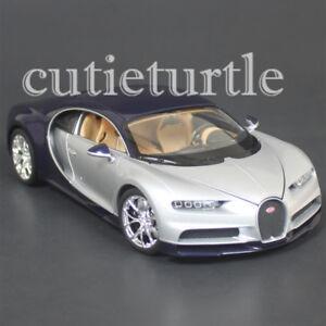 Welly Bugatti Chiron 1:24 Diecast Model Toy Car 28077D Two Tone Blue Silver