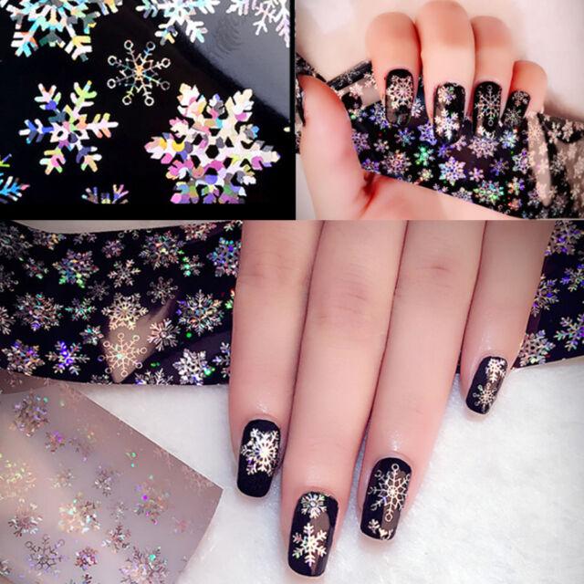 1sheet Nail Art Transfer Foils Sticker Snowflake Holographic Paper