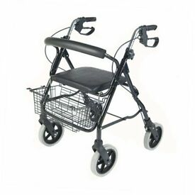 NRS MobilityCare Four Wheeled Rollator M39634 Walking Aid - Seat & Basket