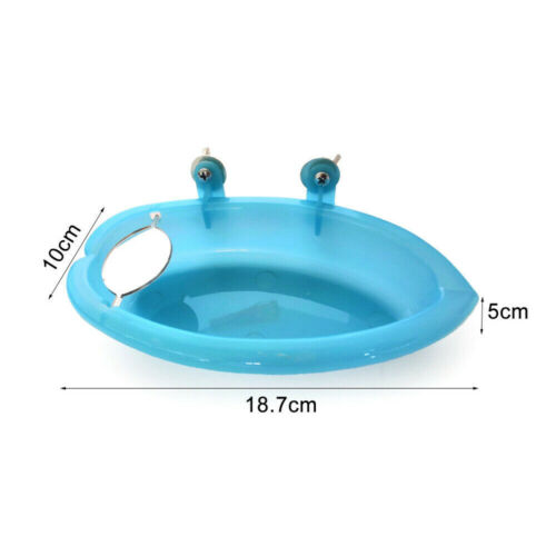 Small Parrot Bird Bathtub Pet Cage Accessories Bird Mirror Bath Shower Blue YMZ - $5.93