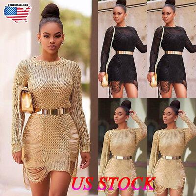 Women Fashion Long Sleeve Tinsel Knit Bodycon Slim Party Club Sweater Mini Dress