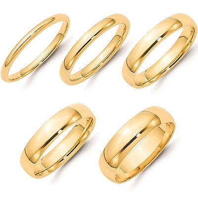 Solid 14K Yellow Gold Comfort Fit Wedding Band Plain 2mm 3mm 4mm 5mm Men Women