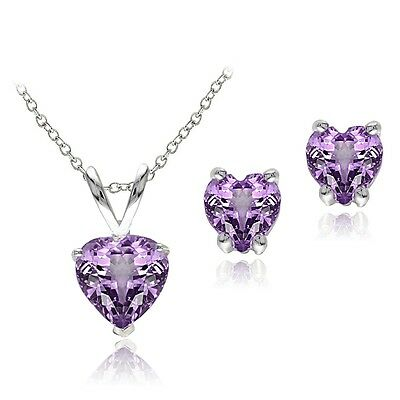 925 Silver 1.9ct Amethyst Heart Solitaire Pendant & Stud Earrings Set