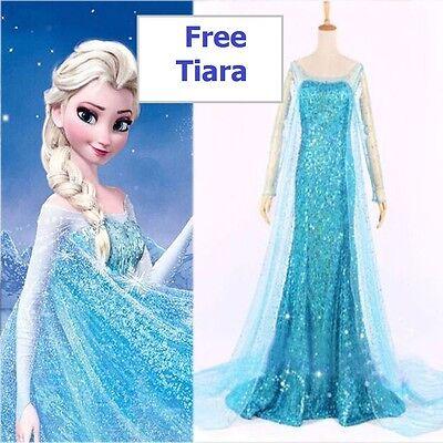 Frozen Elsa Party Kostüm Blau UK Lager Elsa Perücke Schneekönigin - Frozen Elsa Schnee Königin Kostüm