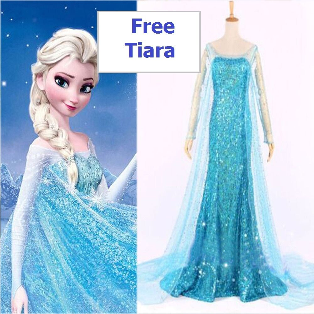 reine des neiges elsa costume d guisement bleu stock uk perruque robe ebay
