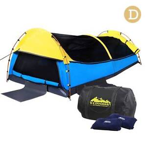 AUS FREE DEL-Double Canvas Camping Swag Tent w/ Bag Yellow & Blue Sydney City Inner Sydney Preview