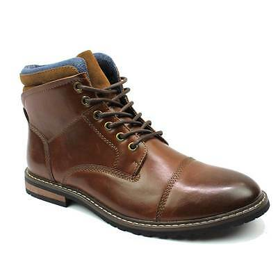 Mens Boot Cognac Brown Ankle Cap Toe Derby Modern Lace Up Round Toe By AZAR MAN
