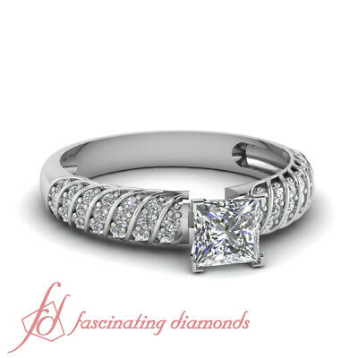Pave Set White Gold Engagement Rings for Women with Princess cut Diamond GIA