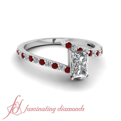 .75 Ct Radiant Cut Diamond & Red Ruby  Engagement Ring Pave Set 14K Gold GIA