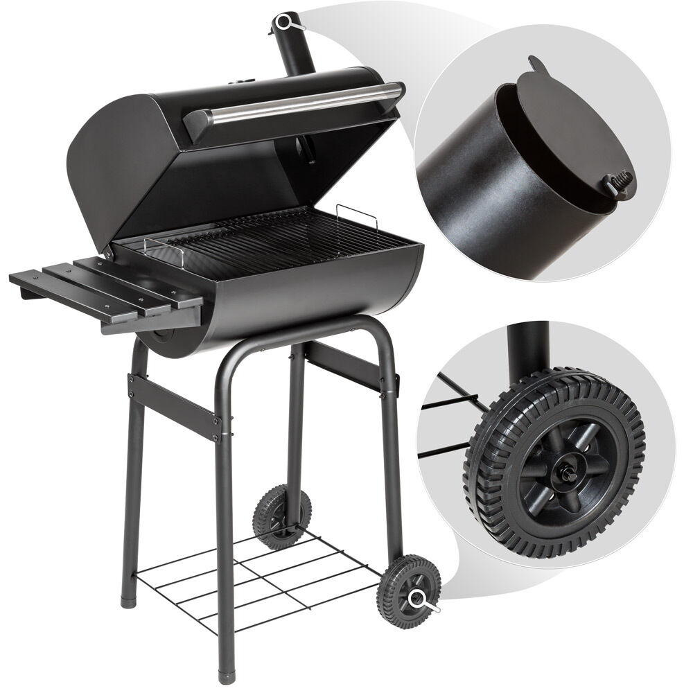 bbq holzkohle grill barbecue smoker r ucherofen grillwagen gartengrill schwarz eur 49 99. Black Bedroom Furniture Sets. Home Design Ideas