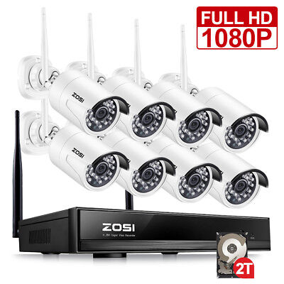 ZOSI Full 1080p Wireless NVR 2TB 2MP Outdoor Security IP Camera WIFI CCTV System