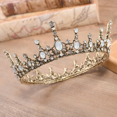 5.5cm High Crystal Round Crown Tiara Wedding Bridal Party Pageant Prom 2 Colors