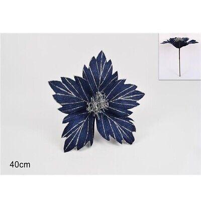 Fiori a stella decorazioni per albero di natale addobbi natalizi in blu argento
