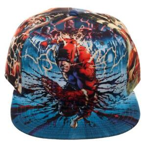 detailed look 3f55f 15a17 DC COMICS THE FLASH SUBLIMATED ALL OVER PRINT SNAPBACK HAT CAP LOGO  ADJUSTABLE